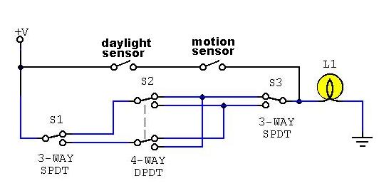 4 way light with motion detector? electronics forum (circuits wiring diagram for motion sensor light switch at fashall.co