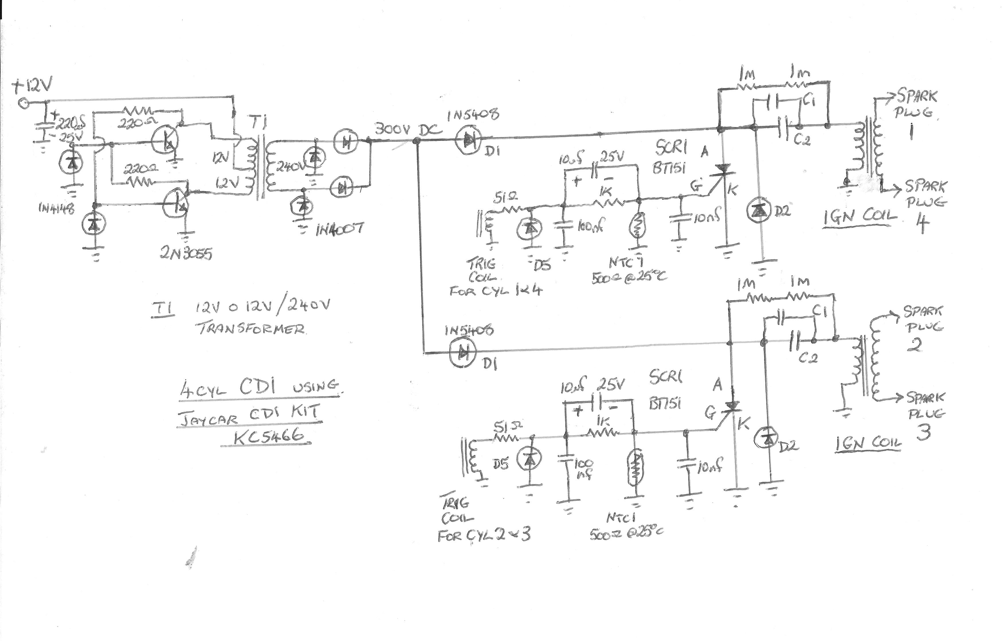 cdi ingnition system please help me build one electronics this is how i would attempt to do it just a rough drawing