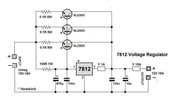 Dual Voltage Power Supply together with 2n3055 Power Supply additionally Top Linear Power Supply Regulator 5v 5a With 7812 And Lm723 further Multi Level Power Supply With 78xx Series together with Voltage regulators. on lm7812 voltage regulator circuit
