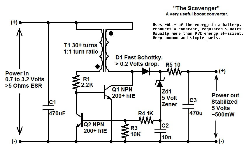 Joule Thief Circuit Diagram | The Scavenger A Joule Thief Inspired Boost Regulator Electronics