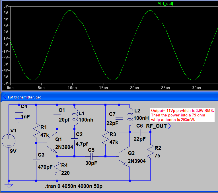 FM transmitter WASP -oscillator working ,rf output stage not ... on