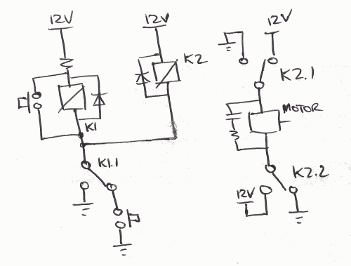 wiring for dpdt relay & 2 switches (used for a reciprocating motor,Current Relay Wiring