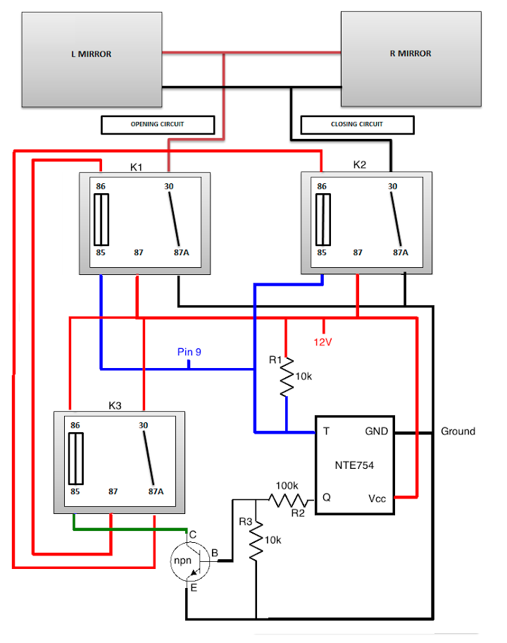 automobile power folding mirrors electronics forum (circuits Relay Switch Wiring Diagram at n-0.co