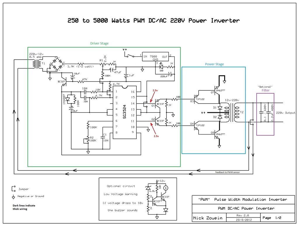 sg3524 схема инвертора 12 220