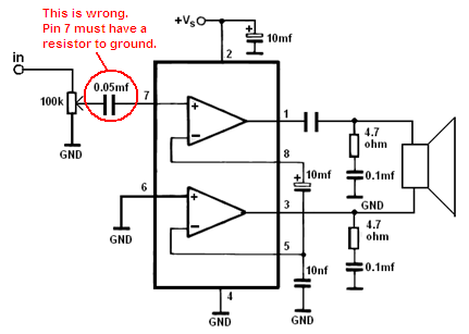 Tda2822 Mono Amplifier Circuit - Wrong Tda2822m - Tda2822 Mono Amplifier Circuit